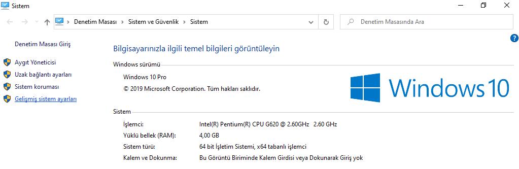 Windows 10 Gelişmiş Sistem Ayarları